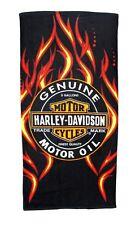 Harley Davidson Genuine Motor Oil Flames Bath, Pool, Beach Towel 30X60 LICENSED!