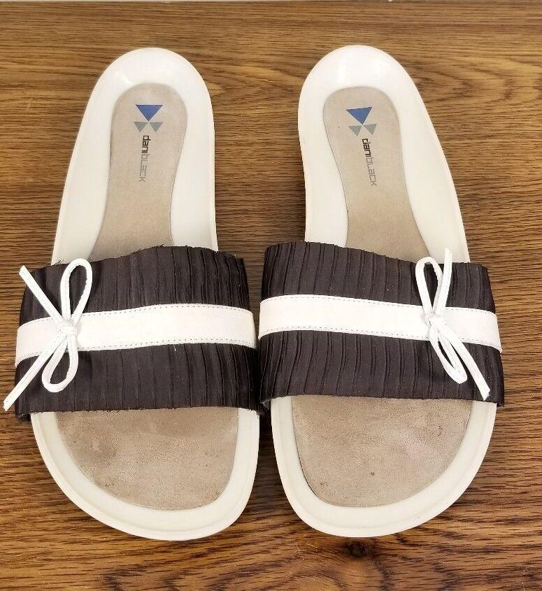 DANIBLACK Sandals  Brown Pleated Fabric/Cream Leather Slides Sandals DANIBLACK Women's Size 8 M 49eabf