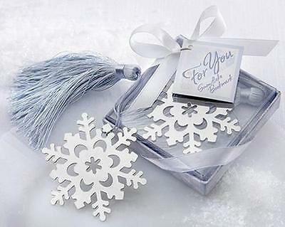 Lovely Cute Snowflake Creative Exquisite Alloy Bookmark With Ribbon Box Gift HOA