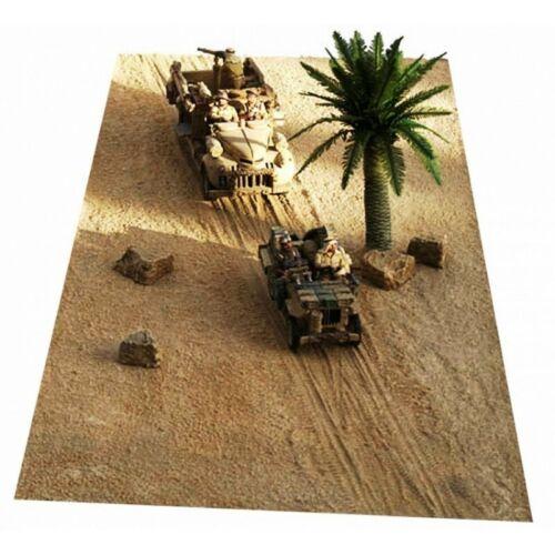 JG MINIATURES-Tapis-décor traces de roues chenilles FM6 désert de sable