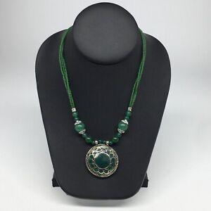 Turkmen-Necklace-Beaded-Afghan-Ethnic-Kuchi-Tribal-Fashion-Green-Pendant-VS191