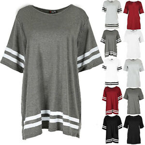 Womens-Ladies-Stripe-Baggy-Oversized-Top-Cap-Sleeve-Sports-Pullover-T-Shirts