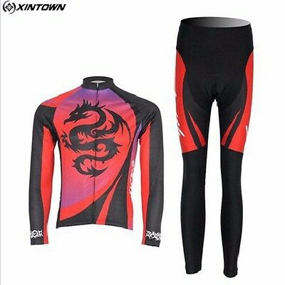 XINTOWN New Red Dragon Men Cycling Bike Long Sleeve Jersey Outdoor Sport Pants