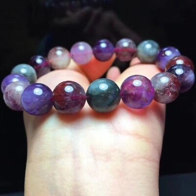 ONLY ONE 12MM Genuine Auralite 23 Cacoxenite Beads Gray Purple Bracelet Grade A Oldest Crystal Natural Round Gemstone 8 114256h-3770