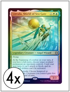 English Zendikar Rising MTG Magic 4x Sea Gate Banneret Foil NM-Mint