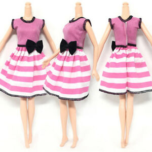 Causal-Wear-Clothes-For-11-5-034-Dolls-Pink-Princess-Black-Bowknot-Short-Dresses