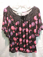 Womens Seventh Avenue Multi Color Floral Burst Blouse Top Size Large