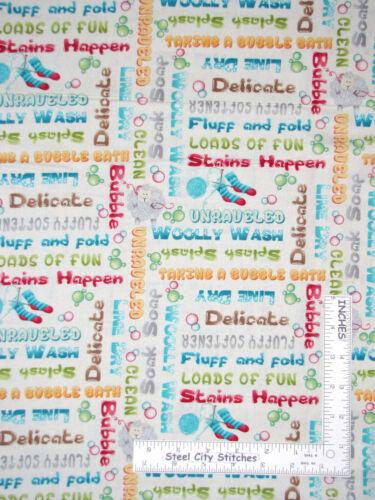 Laundry Room Washing Drying Words Cotton Fabric HG/&Co Splish Splash By The Yard
