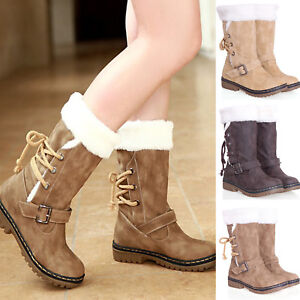 cc387bb05bba Womens Winter Boots Snow Fur Lined Warm Comfy Work Buckle Lace up ...