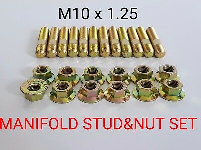 EXHAUST MANIFOLD M10 STUDS & NUTS FOR NISSAN SKYLINE R31 RB30 COMMODORE VL