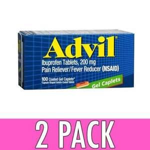 Advil Ibuprofen Tablets 200 MG 100 GEL Caplets USA