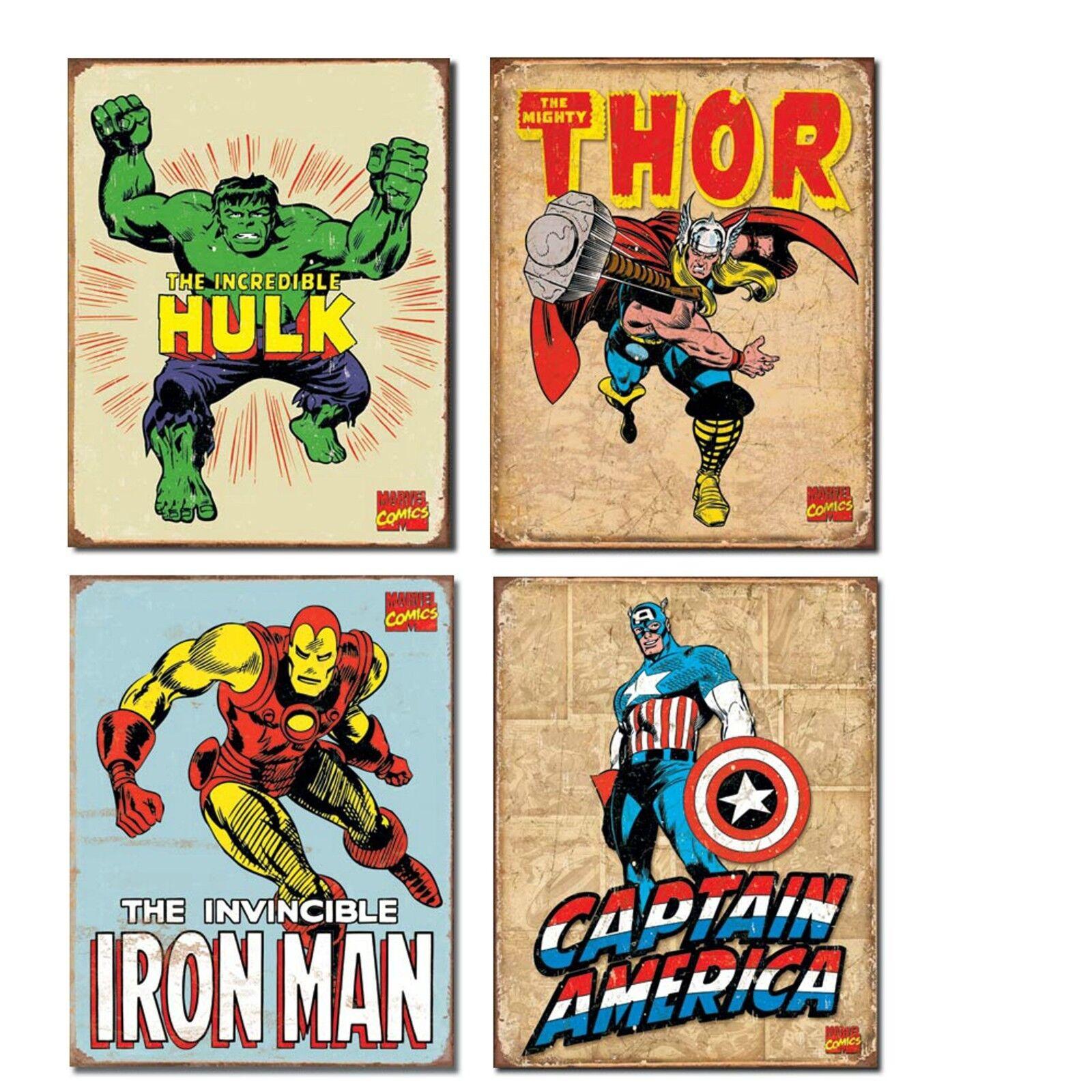 Superhero Tin Sign Decor Lot Incredible Hulk Thor Iron Man Captain America NEW
