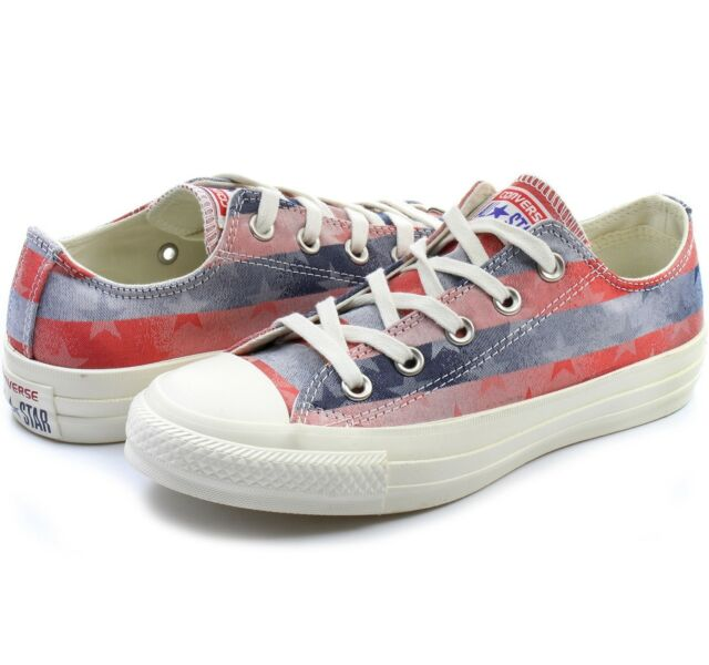 buy popular c6d80 1c065 Womens Girl Converse All Star Stars   Bars Blue Red Low Trainers Shoes Size  UK 3 for sale online   eBay