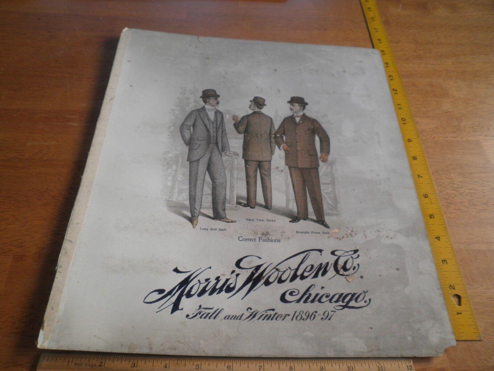 1896-97 Mens Fashion suit Salesman Sampler Morris Woolen Chicago 14x15.5 Sack