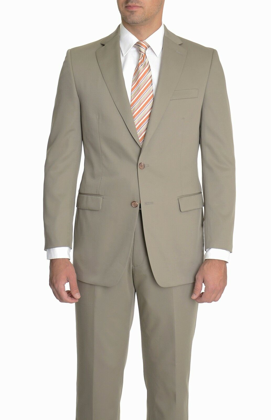 Ralph Lauren Classic Fit Solid Taupe Two Button Wool Suit With Pleated Pants