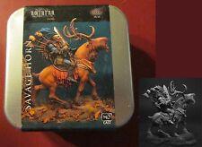 Nocturna HL16 Savage Horn (1) 54mm Miniature Goblin Warrior Lord & Deer Mount