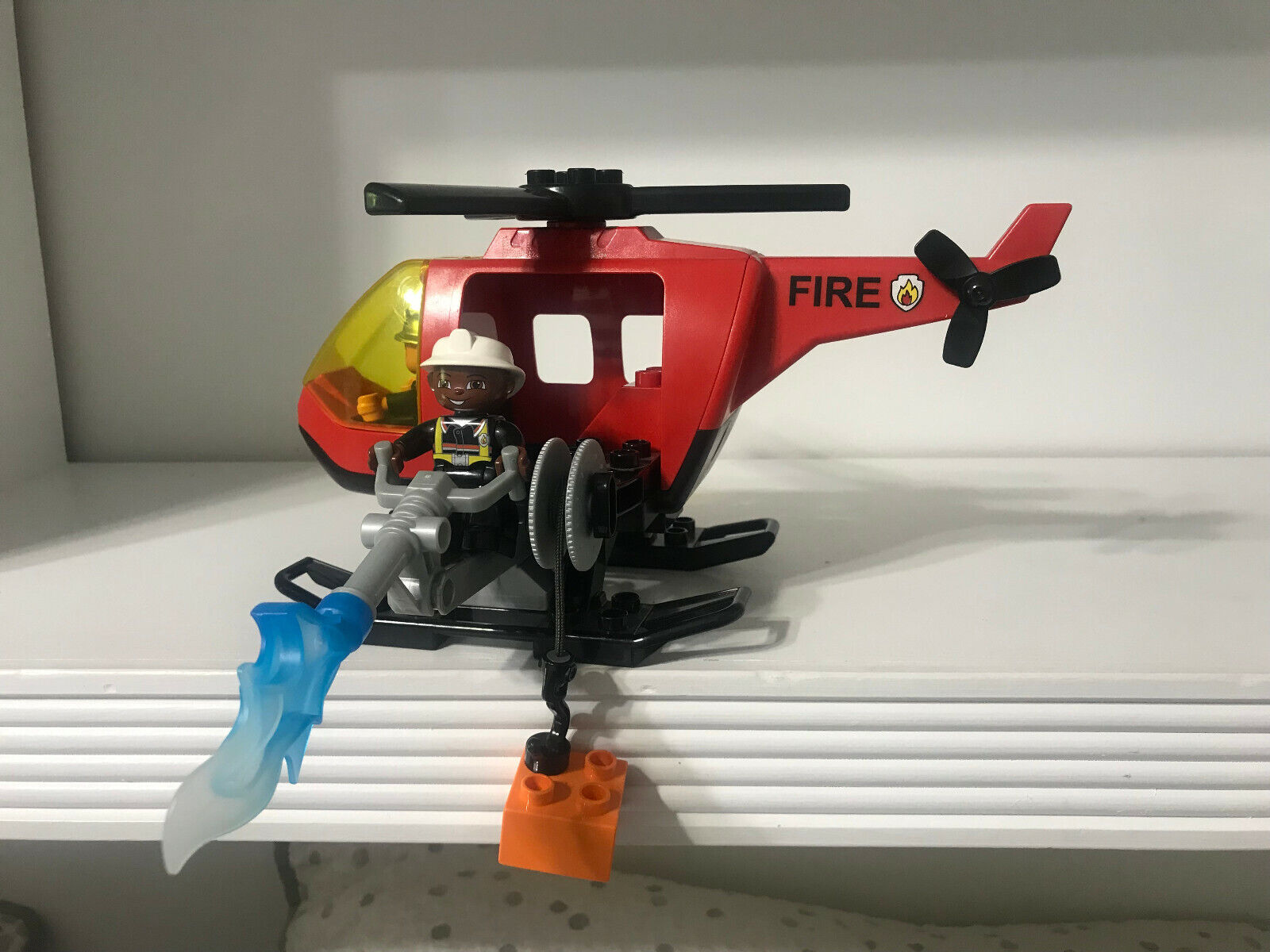 Lego Duplo Fire Helicopter Vehicle 4967 Fire combatientes Flame  Water Hose Lot Set  bellissima