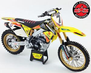 James-Stewart-Yoshimura-RMZ450-1-12-moule-sous-pression-Motocross-MX-Jouet-Modele-Bike-New-Ray