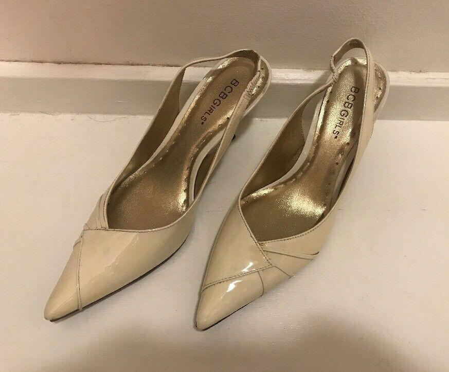 BCBGirls Shoes, Cream Off White Strappy Point Toe High Heel Shoes, BCBGirls 6.5 B, 3
