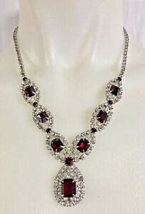 Vintage 1950s Red Ruby & Clear Rhinestones Necklace- Kramer
