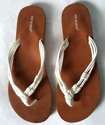 Joe Boxer Women's Beach Open Toe Sandals Slippers Flip Flop White Brown 7/8 Relieving Rheumatism Women's Shoes Clothing, Shoes & Accessories