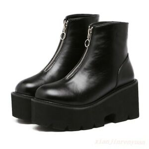 Motorcycle-Punk-Gothic-Womens-Platform-Front-Zip-Combat-Shoes-Ankle-Boots-Hot