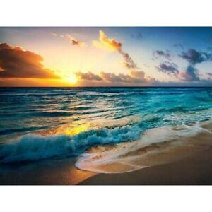 DIY-5D-Full-Drill-Diamond-Painting-kit-Beach-Sunset-Cross-Stitch-Home-Decor