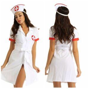 Adult-Women-Sexy-Nurse-Lingerie-Costume-Cosplay-Button-Down-Uniform-Fancy-Dress