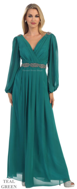Long Sleeve Mother Of Bride Plus Size Evening Formal V Neck Gown