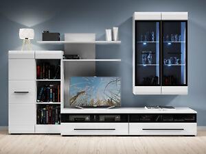 Image Is Loading White Gloss Modern Living Room Furniture Set Led