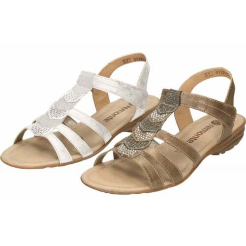 Remonte Strappy Flat Gladiator Glitter T Bar Sandals R3637 Brown Silver Gold