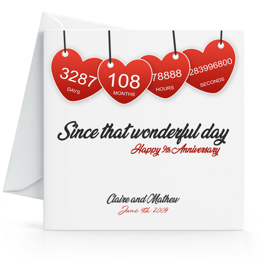 Details about Personalised 10th Wedding Anniversary Card with Printed Red  Hearts - Ninth