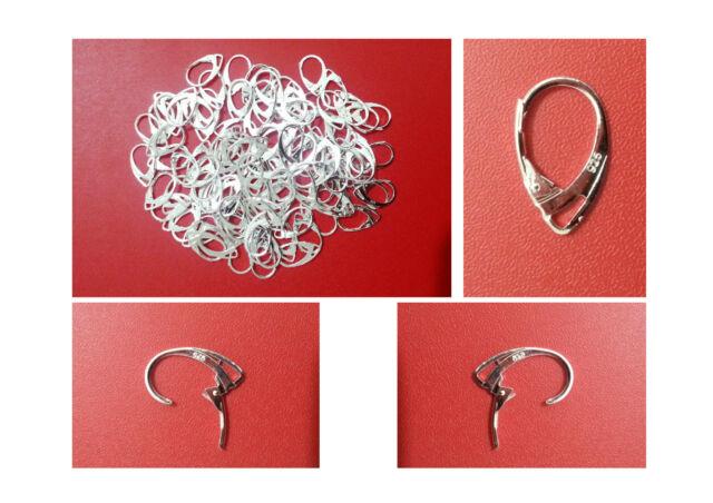 Sterling Silver Ear Hooks Earrings 925 Stamped Lever Back Ear Jewellery DIY
