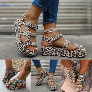 Women Platform Sandals Open Toe Ankle Strap Snakeskin/Leopard Print Summer Shoes