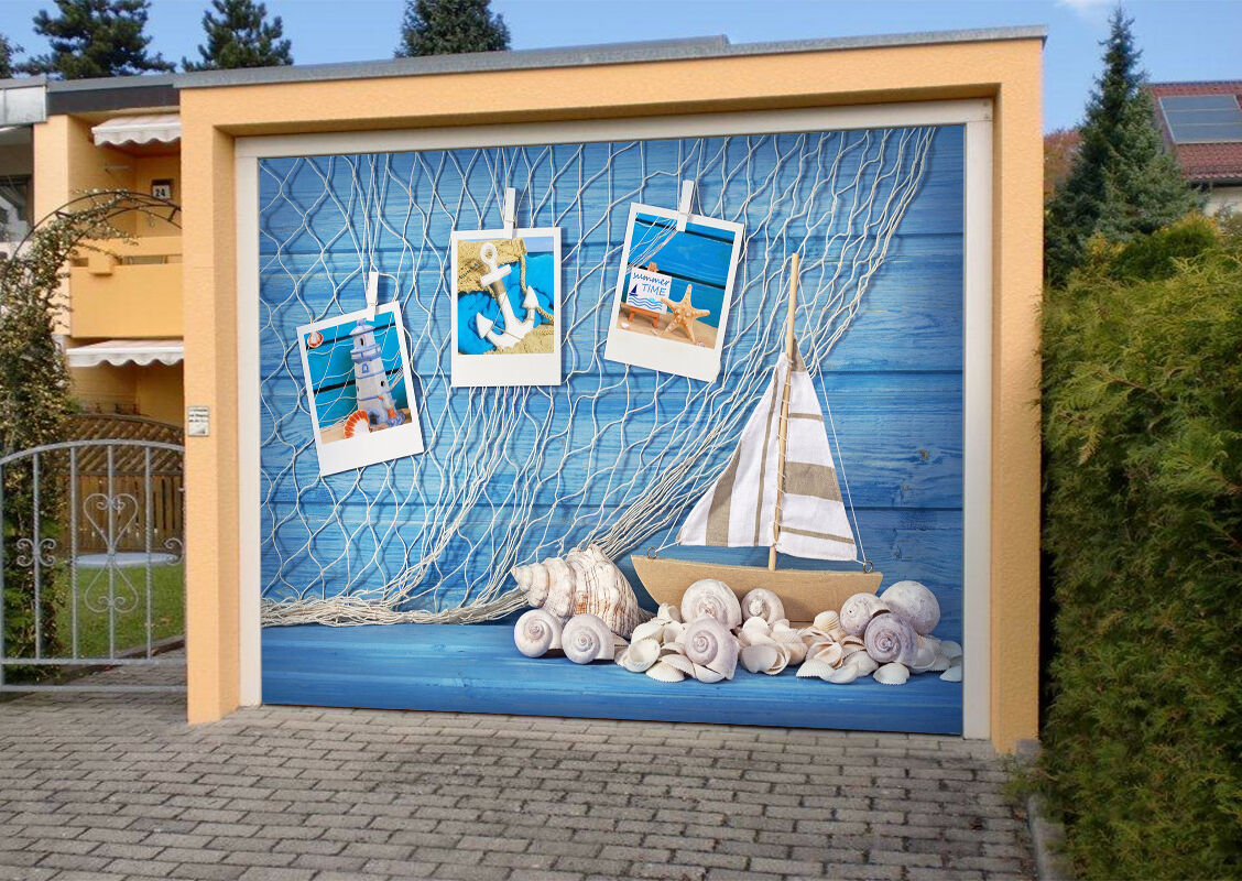 3D Shells Boat 84 Garage Door Murals Wall Print Decal Wall AJ WALLPAPER UK Carly