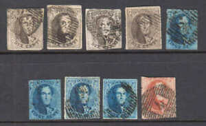 BELGIUM 10-12 + VAR'S SOUND CXLS x9 $222 SCV IMPERF UNWMK  COLLECTION LOT