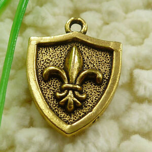 Free-Ship-35-pieces-gold-plated-shield-charms-23x16mm-1071