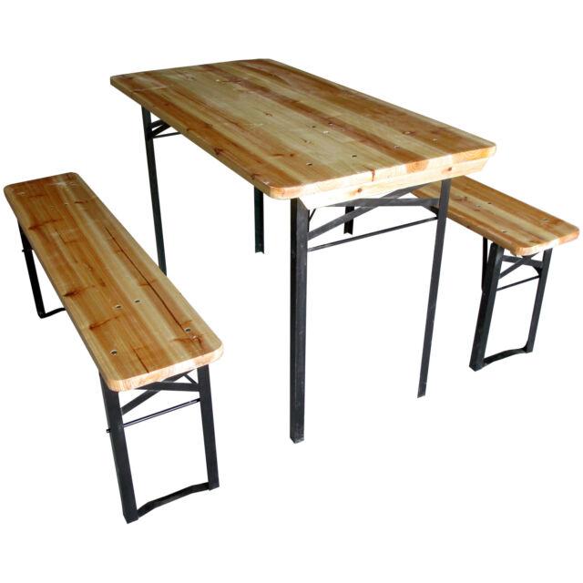 Beer Table Bench Set Outdoor Wooden Folding Trestle Garden Furniture Steel Leg