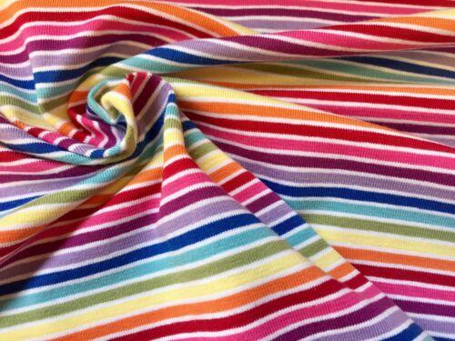 "Multi Striped White Rainbow Jersey Knit Elastane 4W Stretch Cuff Fabric 61/"" wide"