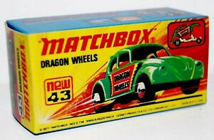 Matchbox-Lesney-No-43-DRAGON-WHEELS-empty-Repro-E-style-Box