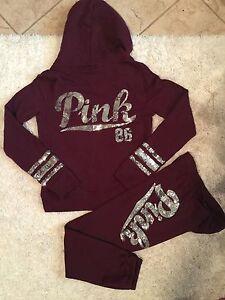Victoria Secret set Pink burgundy Hoodie Skinny Pant Maroon BLING ...