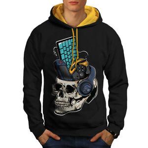 oro Gaming Men Geek con cappuccio cappuccio Felpa Contrast New Skull Black Pc HWwwd
