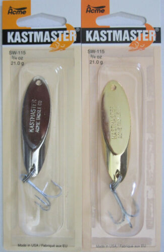 Chrome /& Gold Acme Tackle KASTMASTER Fishing Lures Six Sizes! 2 Pks