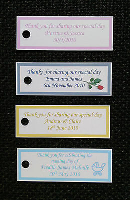 100 X Matrimonio Personalizzato Favore Etichette, Battesimo, Gallina, Etichette Regalo-qualsiasi Colore-