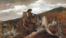 "Winslow Homer, AMERICAN, Hunting & Bird Dog, gun, Deer Hunt, 17""x10"" Art Print"