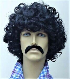 Men/'s Long Curly Black Fancy Dress Wig and Droop Moustache Set