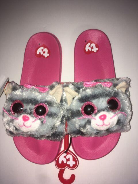 f9ad01289ef Girls Ty Beanie Boo Flip Flop Slide Slippers Grey Kiki Kitty Cat Youth Size  4