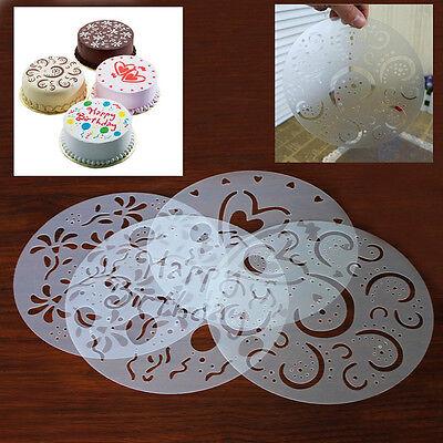 neu 4 Stück DIY Rund Torten Deko Marzipan Kuchenschablone Tortenpapier