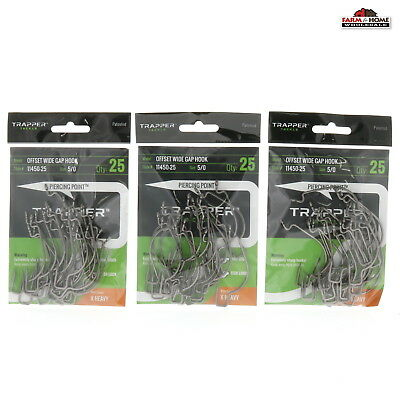 Bass /& Pike Fishing Tackle Trapper Tackle X-Heavy Offset Wide Gap Hook Hooks