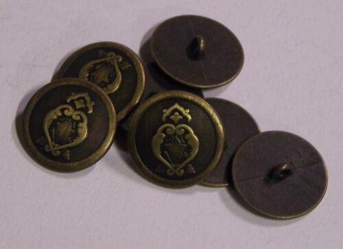 8pc 23mm tulipe et fern bronze métal blazer manteau veste bouton 2098